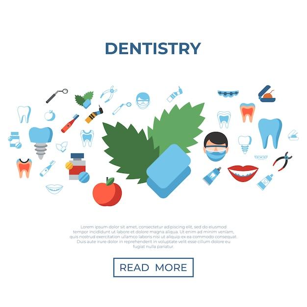 Symbole für zahnheilkunde und gesundheitswesen Premium Vektoren