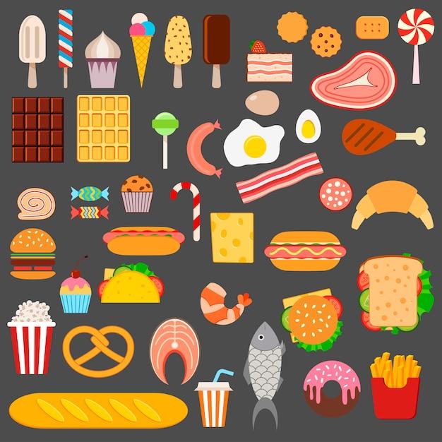 Symbole von fast food Premium Vektoren