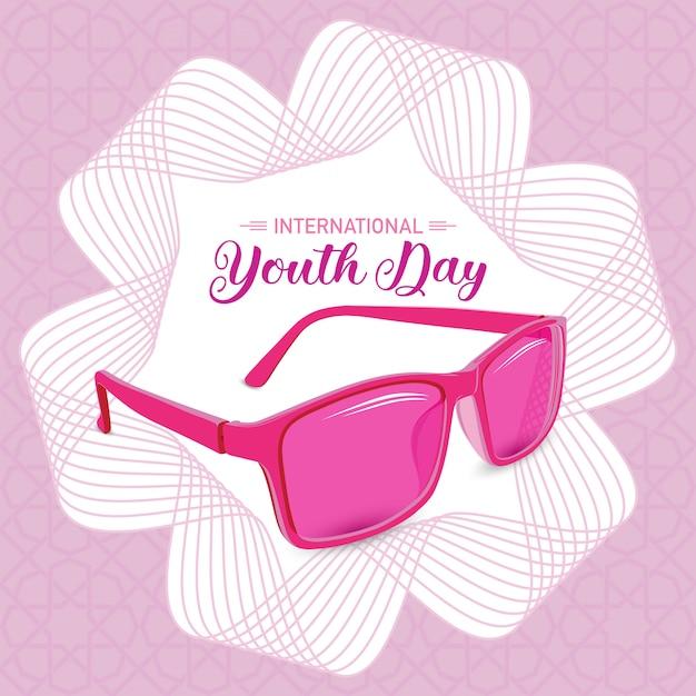 Symbolische junge der internationalen jugend-tagesrosasonnenbrille mit linie kunsthintergrund Premium Vektoren