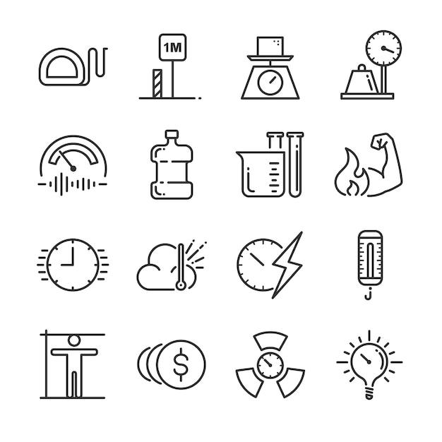 Symbolsatz für maßeinheit. Premium Vektoren