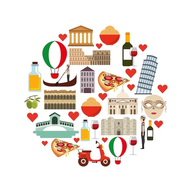 Symbolsatz. italien kultur design. vektorgrafik Premium Vektoren