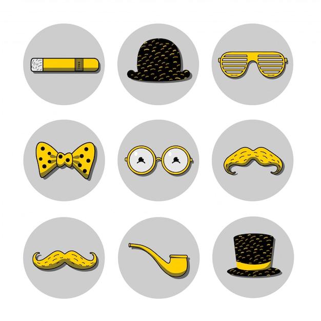 Symbolsatz mit melone, zylinder, brille, schnurrbart auf den stöcken, zigarre und pfeife auf den gelben und schwarzen farben Premium Vektoren