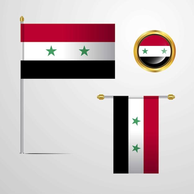Syrien wehende flaggendesign mit ausweisvektor Kostenlosen Vektoren