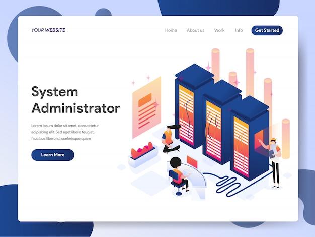 Systemadministrator banner der zielseite Premium Vektoren