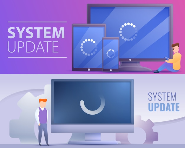Systemaktualisierungs-bannersatz, karikaturart Premium Vektoren