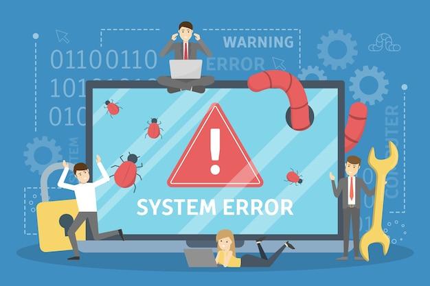 Systemfehler. die leute rennen vom computer in panik Premium Vektoren