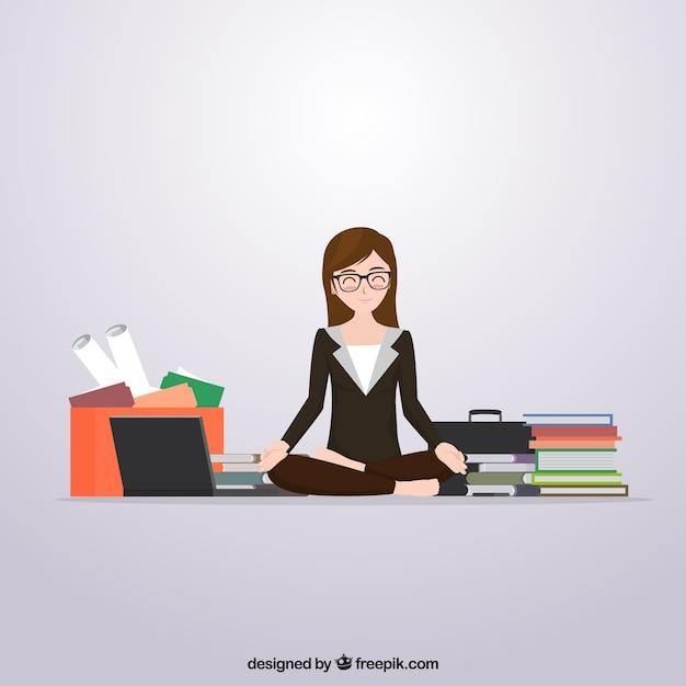 Szene der geschäftsfrau meditiert vor der arbeit Kostenlosen Vektoren