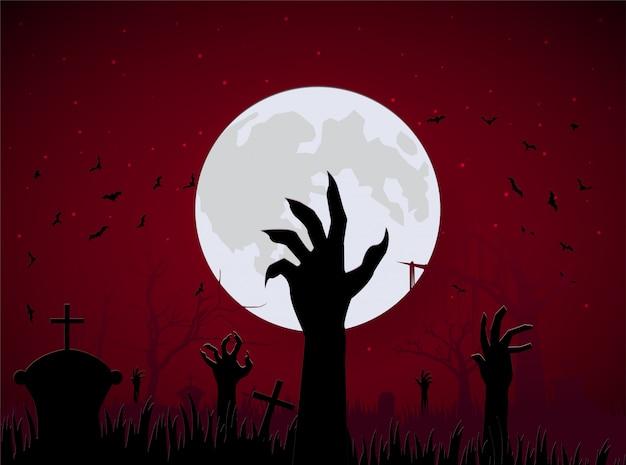 Szene halloween hand zombie vom boden mit großem mond und fledermaus Premium Vektoren