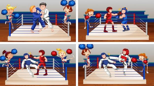 Szene mit athleten, die im ring kämpfen Kostenlosen Vektoren