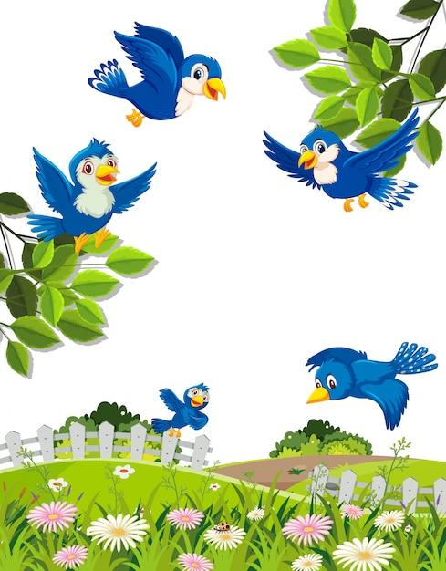 Szene mit blauen vögeln, die in den himmel fliegen Premium Vektoren