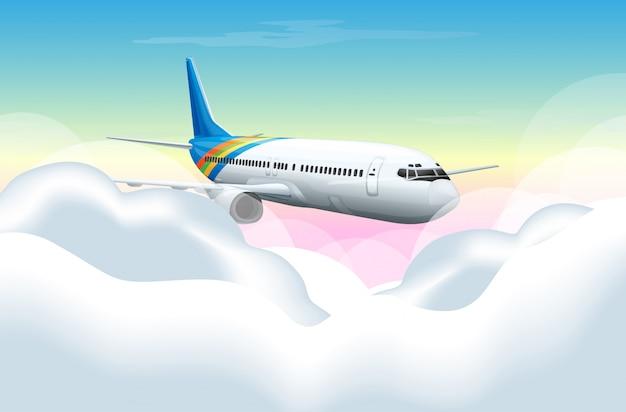 Szene mit dem flugzeug, das in den himmel fliegt Kostenlosen Vektoren