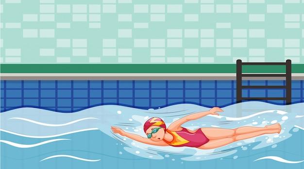 Szene mit dem schwimmer, der im pool schwimmt Kostenlosen Vektoren