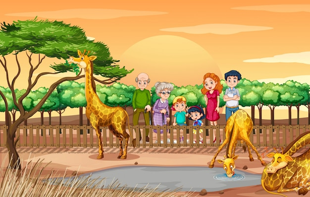 Szene mit den leuten, die giraffen am zoo betrachten Premium Vektoren
