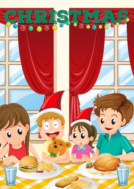Szene mit der familie, die mahlzeit auf weihnachten hat Kostenlosen Vektoren