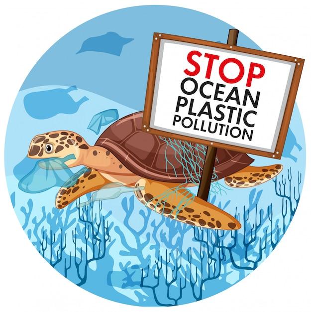 Szene mit der meeresschildkröte, die endplastikverschmutzung hält Kostenlosen Vektoren