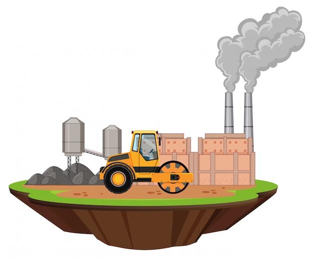 Szene mit fabrikgebäuden und straßenwalze Kostenlosen Vektoren