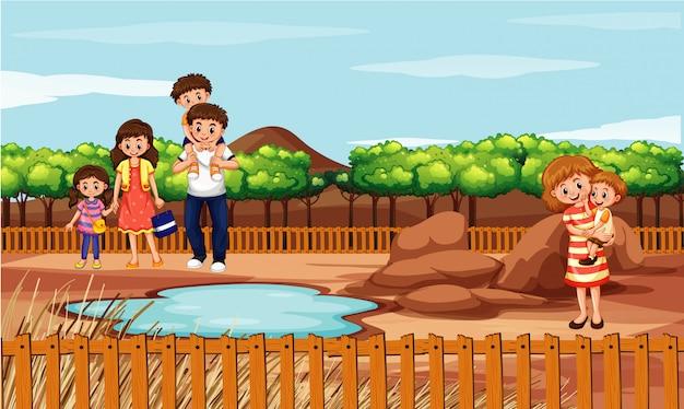 Szene mit familie im park Kostenlosen Vektoren