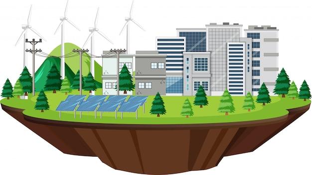 Szene mit gebäuden mit turbinen und solarzellen Kostenlosen Vektoren