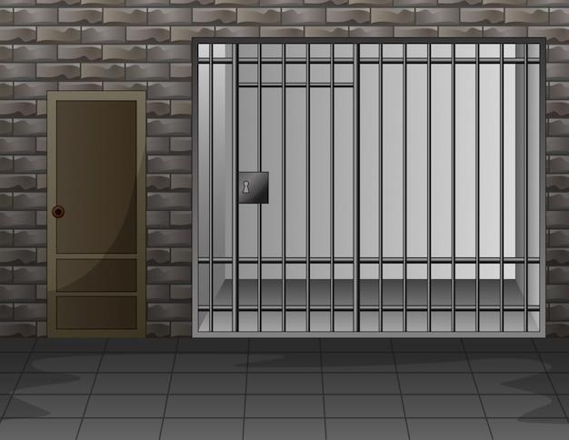 Szene mit gefängnisraum-innenraumillustration Premium Vektoren