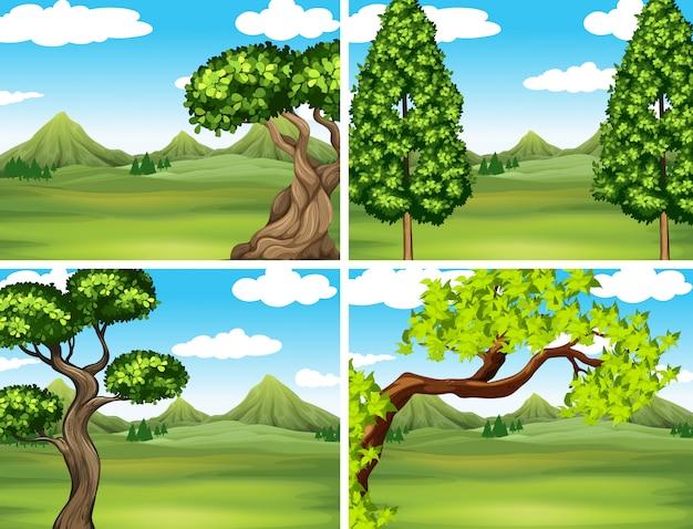 Szene mit grünem gras und bergen Kostenlosen Vektoren
