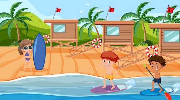 Szene mit kindern, die im ozean surfen Premium Vektoren