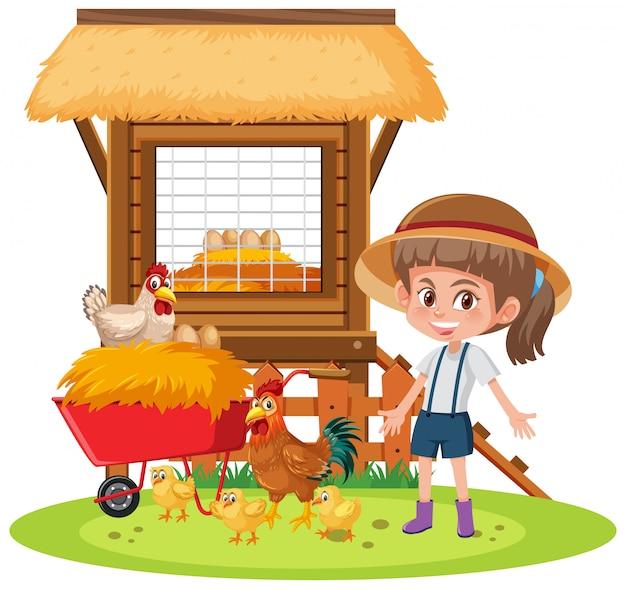 Szene mit kleinem mädchen und hühnern auf weißem hintergrund Premium Vektoren