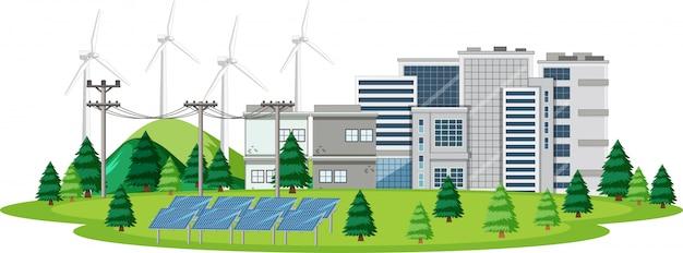 Szene mit sauberer energie in der stadt Kostenlosen Vektoren
