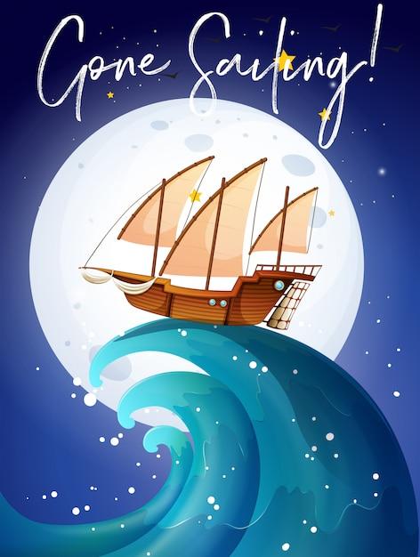 Szene mit segelboot im ozean Premium Vektoren