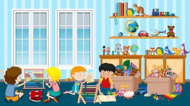 Szene mit vielen kindern, die spielzeug im raum spielen Kostenlosen Vektoren