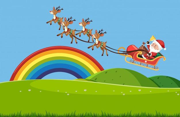 Szene mit weihnachtsmann, der im himmel über dem grünen feld fliegt Premium Vektoren