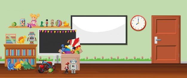 Szene mit whiteboard und spielzeug Kostenlosen Vektoren