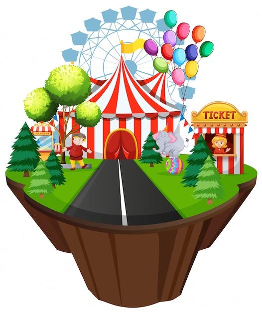 Szene mit zelt und fahrten auf zirkusfahrten Premium Vektoren