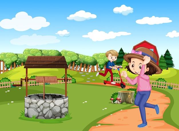 Szene mit zwei kindern, die auf dem feld laufen und roller spielen Kostenlosen Vektoren