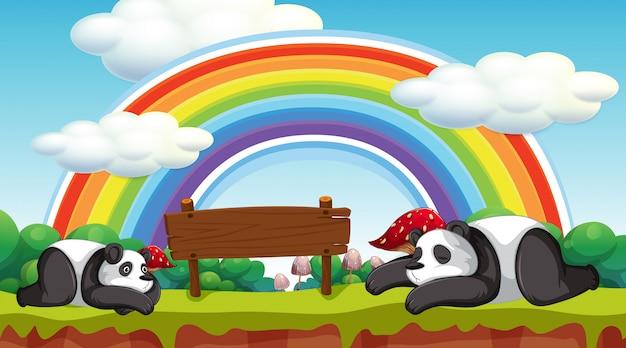 Szene mit zwei pandas und holzschild Kostenlosen Vektoren
