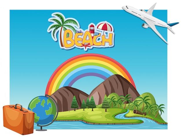 Szene von berg und fluss mit regenbogen. sommerferienkonzept Premium Vektoren