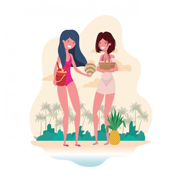 Szene von frauen am strand mit picknickkorb Kostenlosen Vektoren
