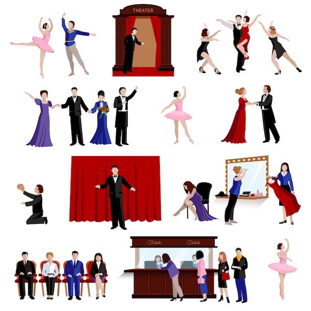 Szenen mit theaterleuten Kostenlosen Vektoren