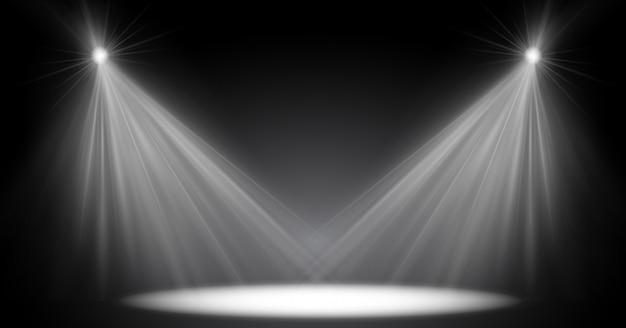 Szenenbeleuchtung, transparenter blitzlichteffekt, sonnenlicht-speziallinse. helle blitze und beleuchtung mit scheinwerfern. spotbeleuchtung der bühne. Premium Vektoren