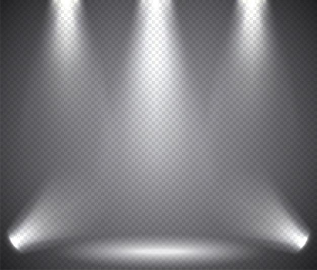 Szenenbeleuchtung von oben und unten, transparente effekte Premium Vektoren