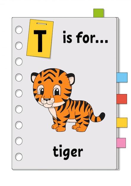 T ist für tiger. abc-spiel für kinder. wort und brief. wörter lernen, um englisch zu lernen. Premium Vektoren