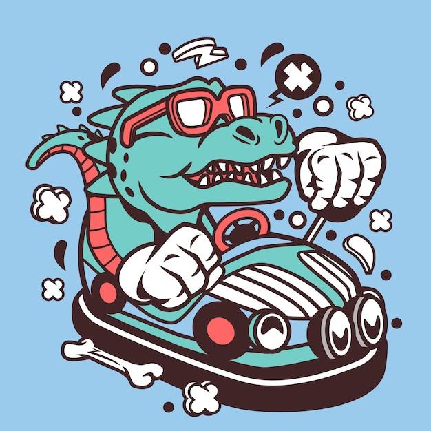 T-rex, der autoillustration fährt Premium Vektoren