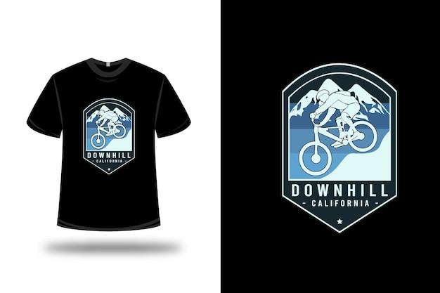 T-shirt bergab kalifornien farbe blau und hellblau Premium Vektoren