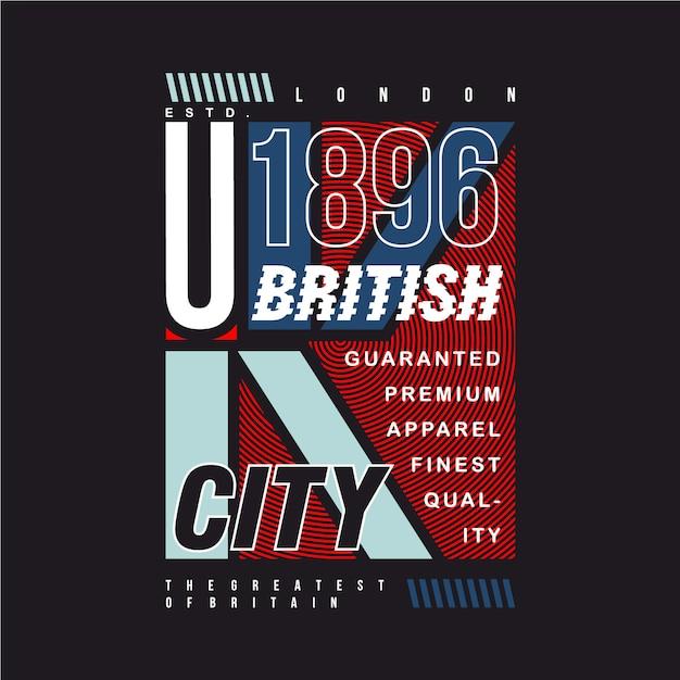 T-shirt des britischen stadtgrafikdesigns Premium Vektoren
