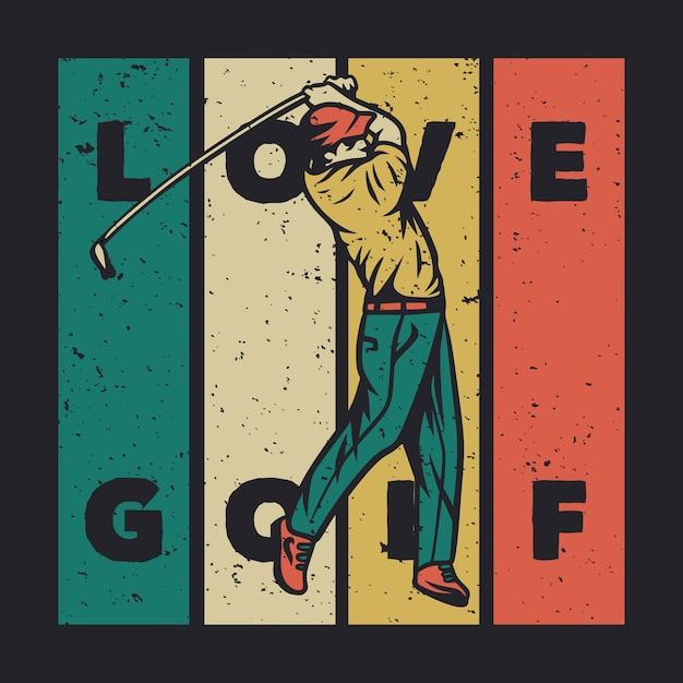 T-shirt design ich würde lieber mit golfschläger vintage illustration golf spielen Premium Vektoren
