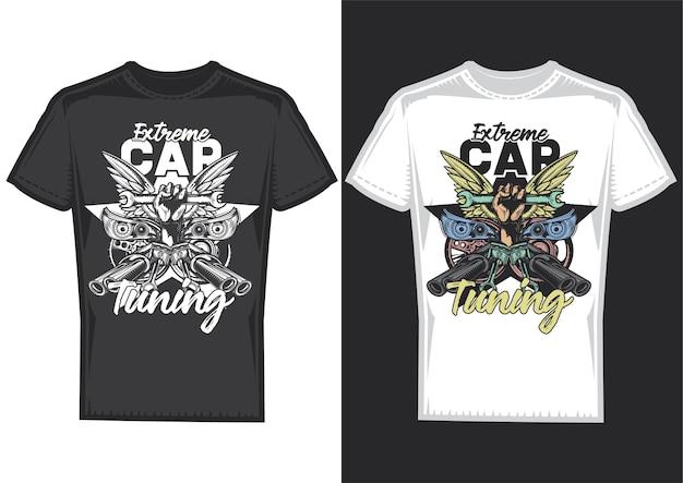 T-shirt designbeispiele mit illustration des autotunings Kostenlosen Vektoren