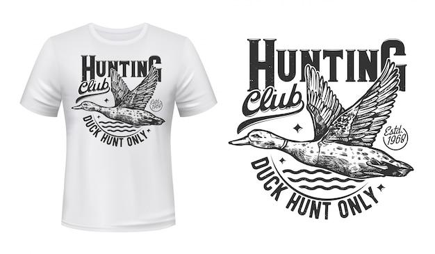 T-shirt-druck der entenjagd. jägerklubsymbol Premium Vektoren