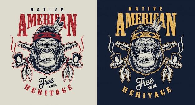 T-shirt druck mit gorilla-konzept Kostenlosen Vektoren
