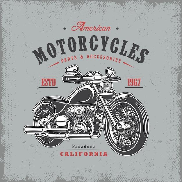 T-shirt druck mit motorrad auf hellem hintergrund und grunge textur Kostenlosen Vektoren