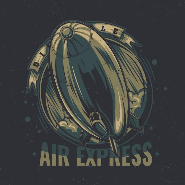 T-shirt etikettendesign mit illustration des fliegenden luftschiffs. Kostenlosen Vektoren