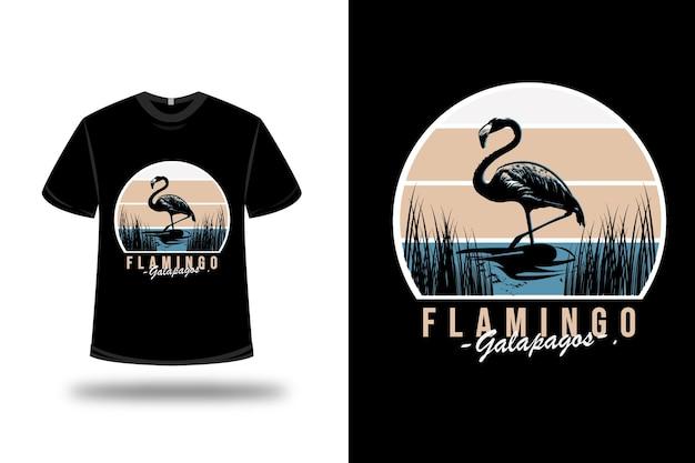 T-shirt flamingo galapagos farbe blau und weiß Premium Vektoren